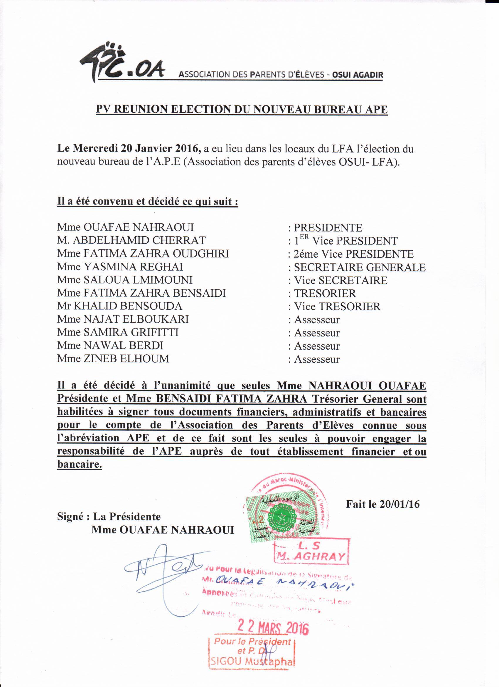 Liste Membres de l'APE